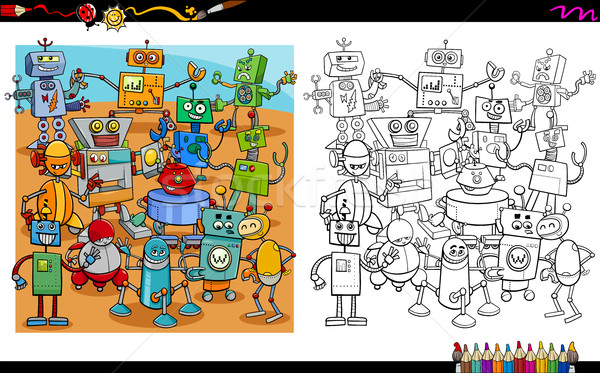 Karikatür robotlar sayfa örnek robot Stok fotoğraf © izakowski