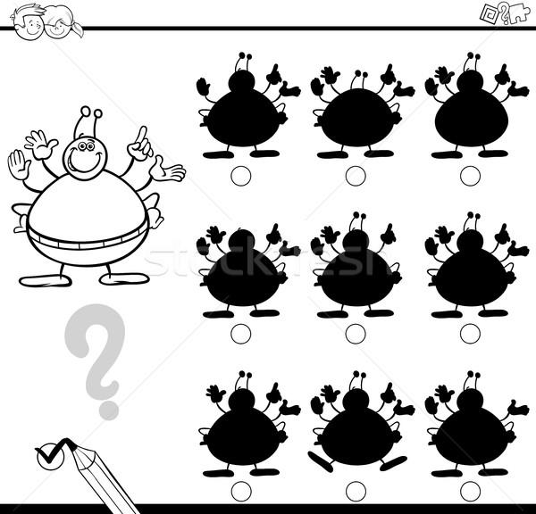 Schaduwen verschillen vreemdeling zwart wit cartoon illustratie Stockfoto © izakowski