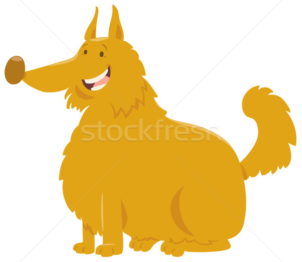 Stock photo: yellow shaggy dog cartoon