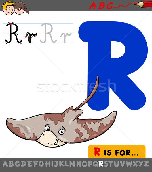 letter r with cartoon ray animal character Stock photo © izakowski