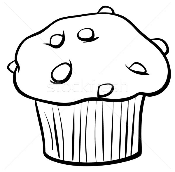 muffin with chocolate coloring book vector illustration © Igor ...