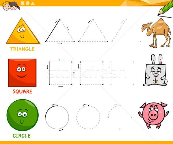 basic geometric shapes drawing worksheet Stock photo © izakowski