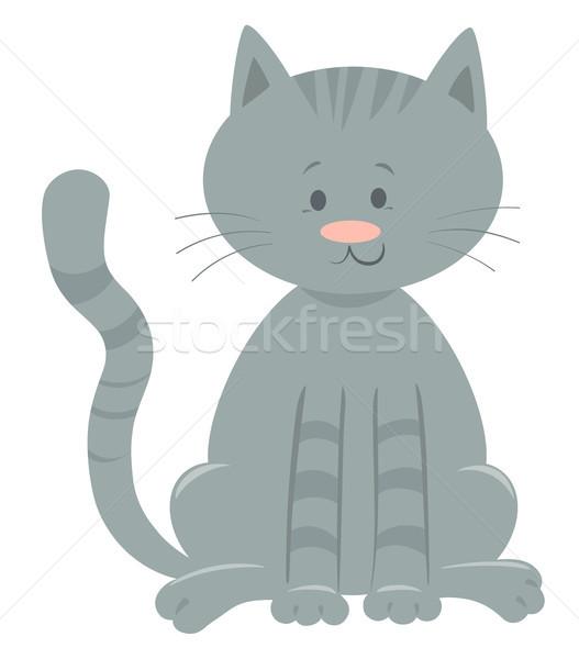 Aranyos házimacska rajzolt állat karakter rajz illusztráció Stock fotó © izakowski
