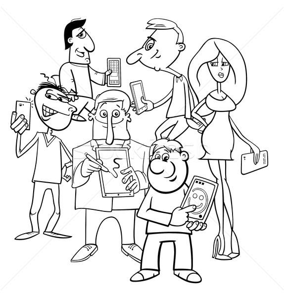 Képregény emberek csoport elektronikus eszközök feketefehér Stock fotó © izakowski