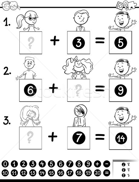 addition educational game coloring page with kids Stock photo © izakowski