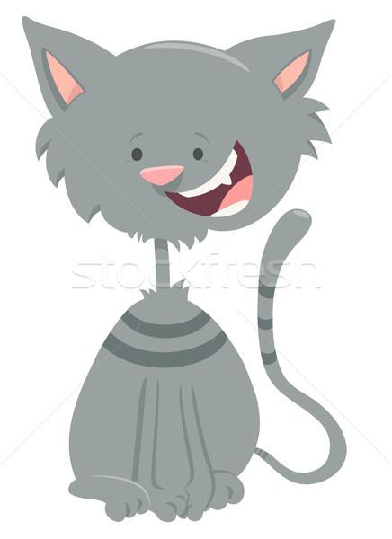 happy gray tabby cat cartoon animal character Stock photo © izakowski