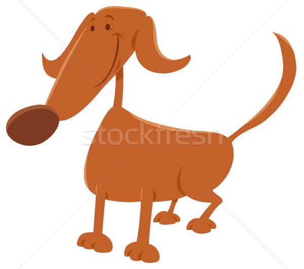 смешные собака Cartoon иллюстрация коричневая собака Сток-фото © izakowski