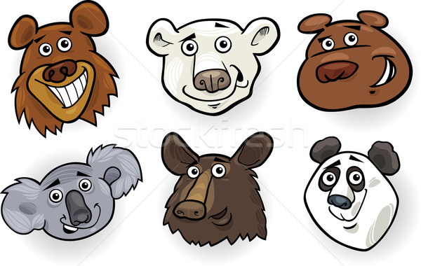 Cartoon bears heads set Stock photo © izakowski