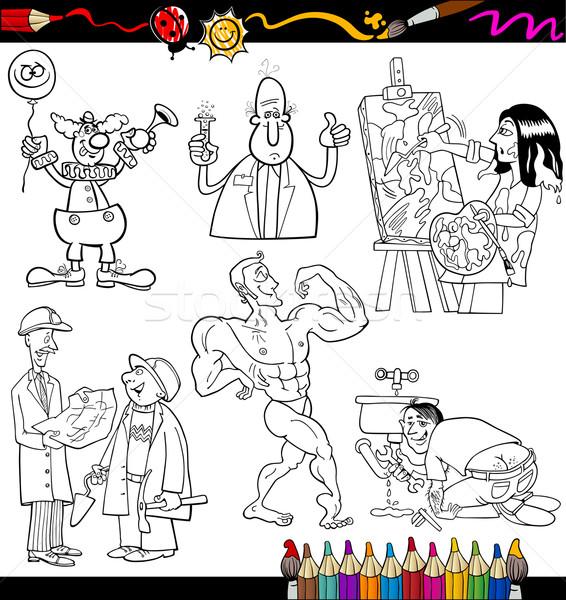 people occupations coloring page Stock photo © izakowski
