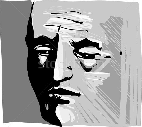 男 顔 芸術的 図面 実例 小さな ストックフォト © izakowski