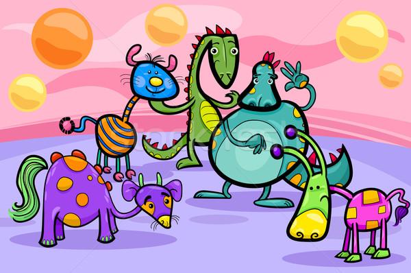 fantasy creatures group cartoon illustration Stock photo © izakowski