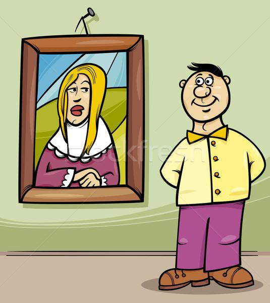 man in art gallery cartoon Stock photo © izakowski