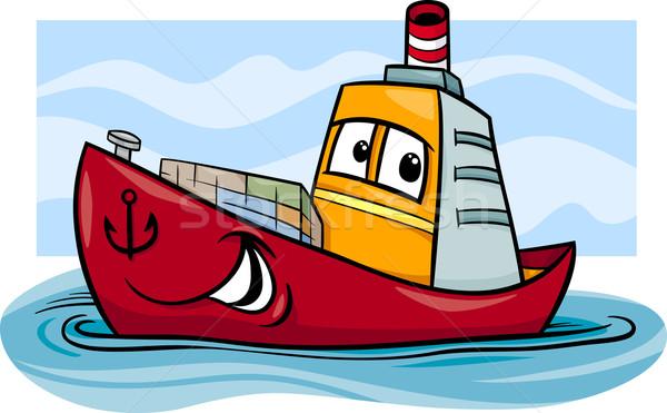 Navio porta-contentores desenho animado ilustração engraçado cômico mascote Foto stock © izakowski