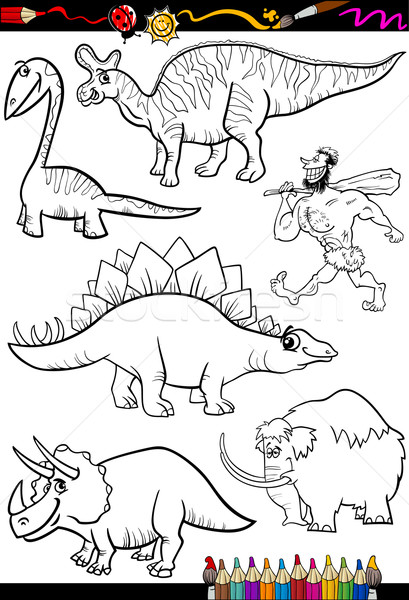 prehistoric set for coloring book Stock photo © izakowski