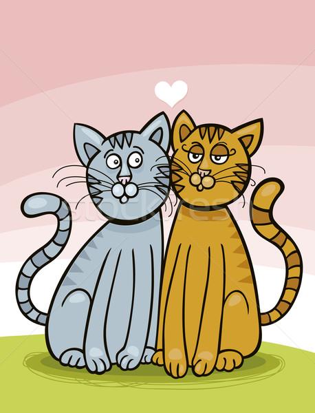 Macskák szeretet illusztráció kettő boldog pár Stock fotó © izakowski