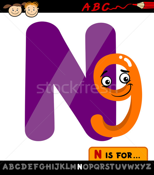 letter n with nine cartoon illustration Stock photo © izakowski