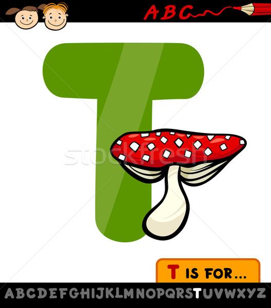 Letra t cogumelo venenoso desenho animado ilustração alfabeto Foto stock © izakowski