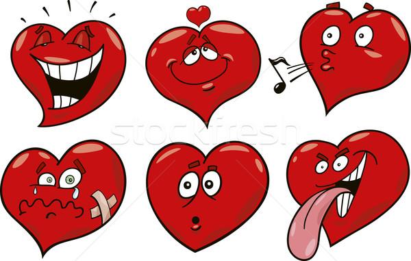 cartoon hearts set Stock photo © izakowski