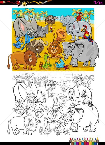 Safari hayvanlar boyama kitabı karikatür örnek safari hayvan Stok fotoğraf © izakowski