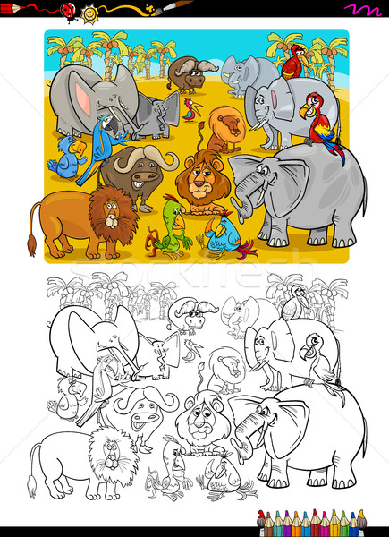 Ausmalbuch Karikatur Illustration Safari Tier Stock foto © izakowski