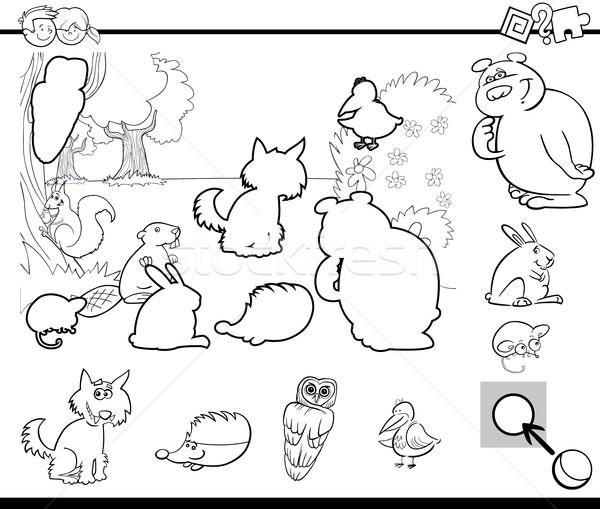 Atividade tarefa página preto e branco desenho animado ilustração Foto stock © izakowski