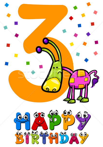 third birthday card design Stock photo © izakowski