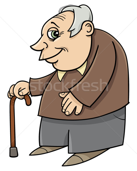 senior with cane cartoon Stock photo © izakowski