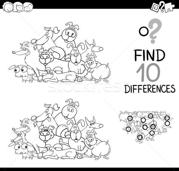 Différences jeu chiens blanc noir cartoon illustration Photo stock © izakowski
