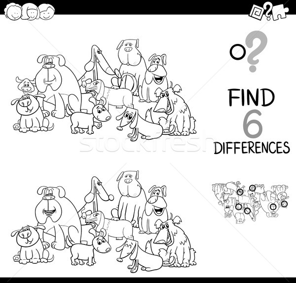 spot the difference with dogs coloring book Stock photo © izakowski