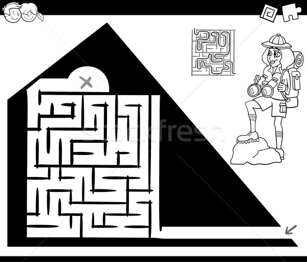 maze activity game with traveler and pyramid Stock photo © izakowski