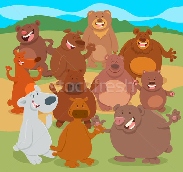 cartoon bears animal characters group Stock photo © izakowski
