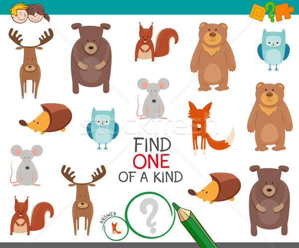 Vinden een dier spel kinderen cartoon illustratie Stockfoto © izakowski