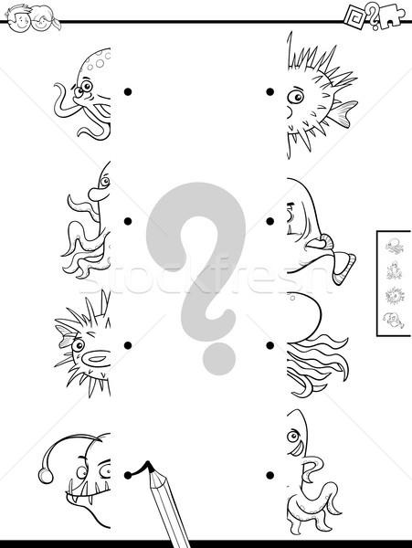 match halves of sea animals game color book Stock photo © izakowski