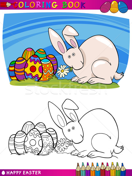 easter bunny cartoon illustration for coloring Stock photo © izakowski