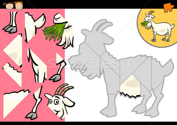 cartoon farm goat puzzle game Stock photo © izakowski