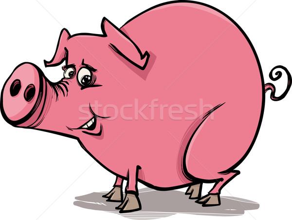 farm pig cartoon illustration Stock photo © izakowski
