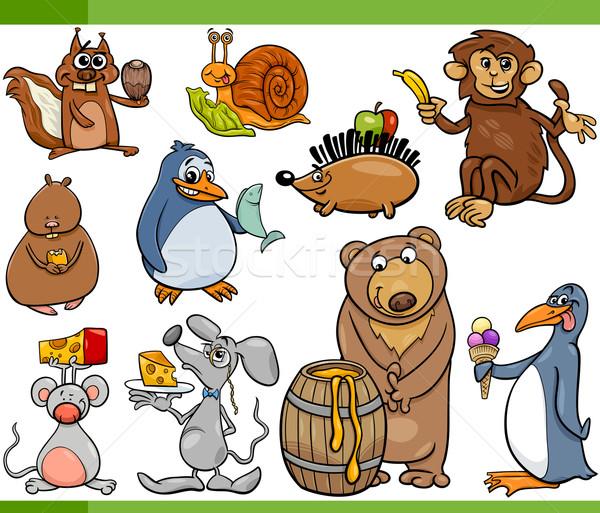 Animali alimentare cartoon set illustrazione divertente Foto d'archivio © izakowski
