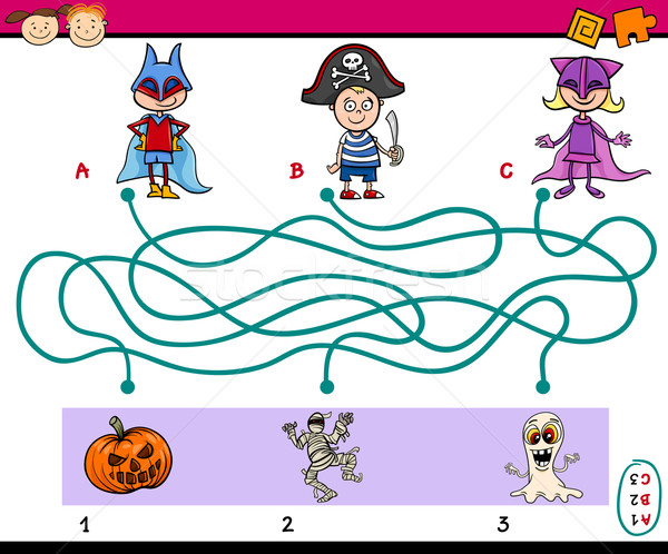 Puzzle zadanie dzieci cartoon ilustracja edukacji Zdjęcia stock © izakowski