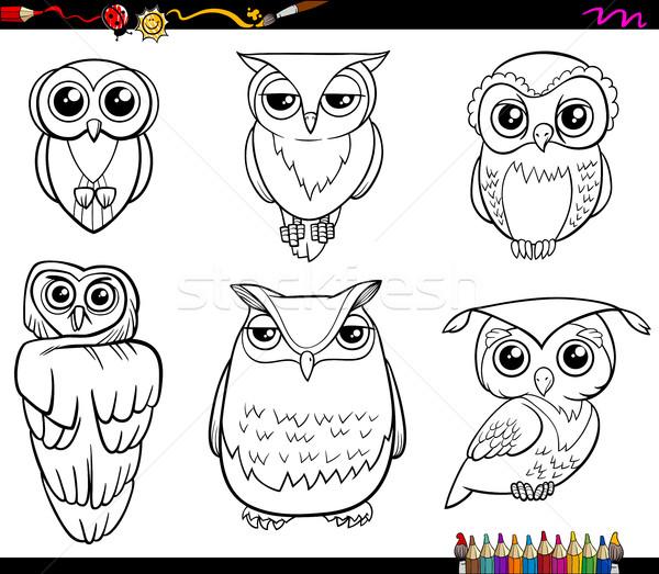 owl characters coloring page Stock photo © izakowski