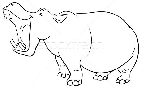 Suaygırı karakter sayfa siyah beyaz karikatür örnek Stok fotoğraf © izakowski