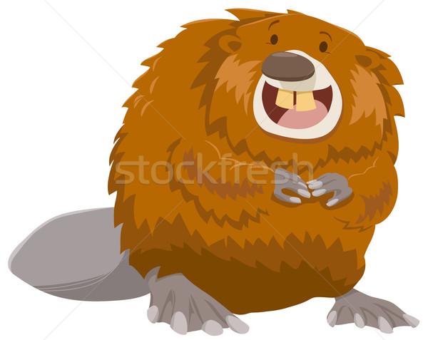 Desenho animado castor animal ilustração feliz Foto stock © izakowski