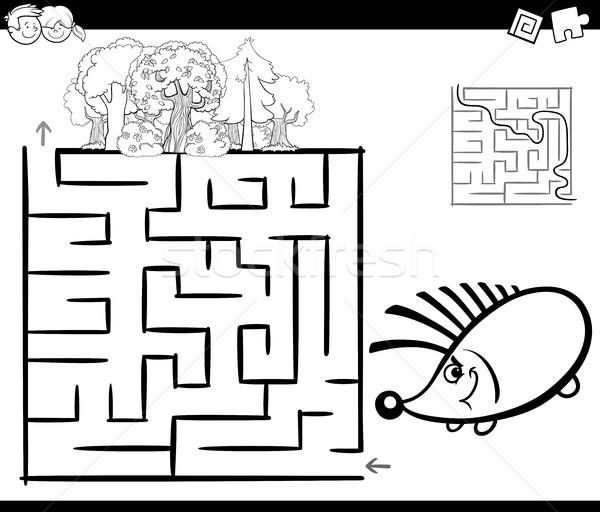 Labirintus sündisznó oldal feketefehér rajz illusztráció Stock fotó © izakowski