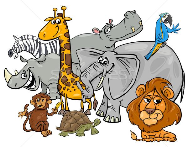 Karikatur Safari Tier Zeichen Gruppe Illustration Stock foto © izakowski