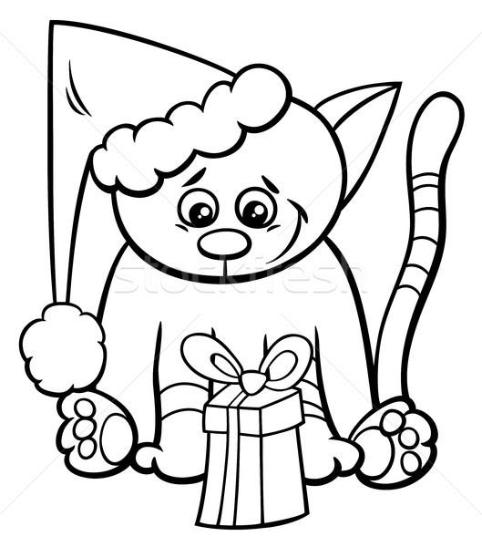 Kedi Noel Hediye Boyama Kitabı Siyah Beyaz Karikatür