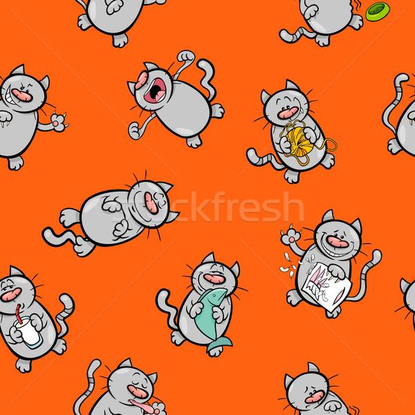 Foto stock: Desenho · animado · padrão · gatos · ilustração · animal