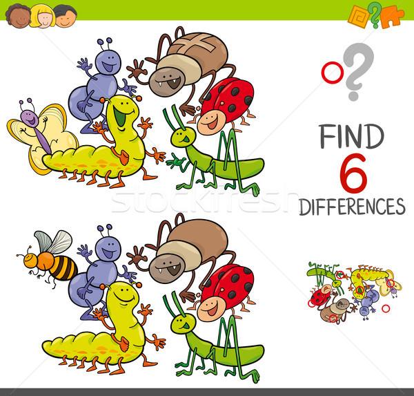 Spot farklılıklar sevimli haşarat karikatür örnek Stok fotoğraf © izakowski