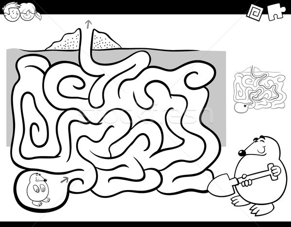 maze activity coloring book wit mole animal Stock photo © izakowski