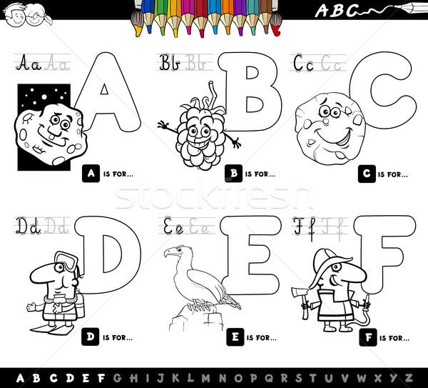 Karikatur Alfabe Harfler Boyama Kitabi Siyah Beyaz
