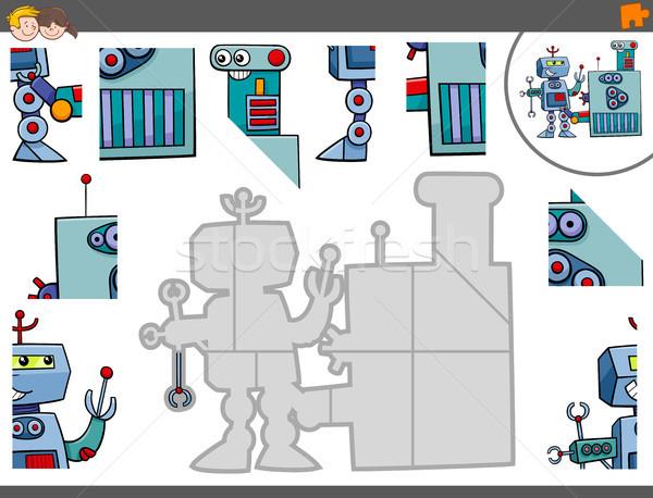 jigsaw puzzle game with robot characters Stock photo © izakowski