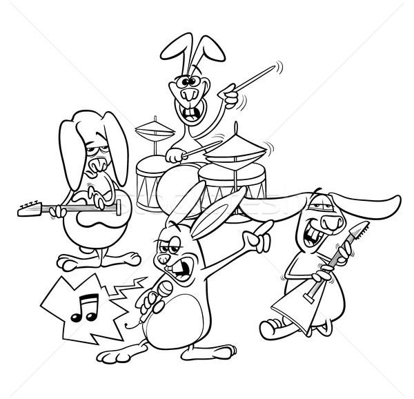 Konijnen rock muzikanten band kleurboek zwart wit Stockfoto © izakowski